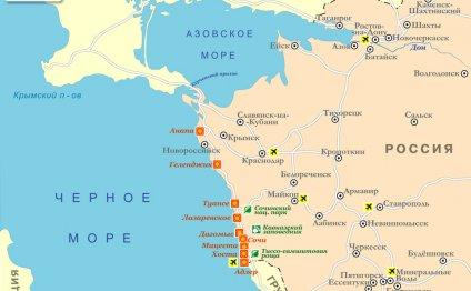 Карта курортов Краснодарского